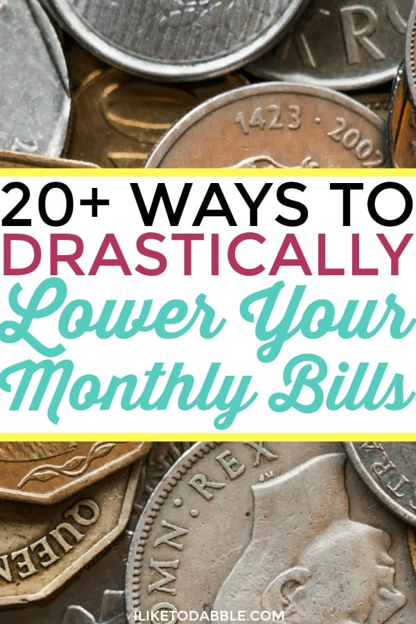 Lower your monthly bills. Save money. Money saving tips. 20+ ways to drastically lower your monthly bills. Don't overpay on your bills. Finance tips. Track your spending. Financial freedom. Retire by 40.