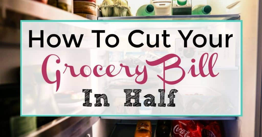 """Food Pantry in Background """"How to Cut your Grocery Bill In Half"""""""