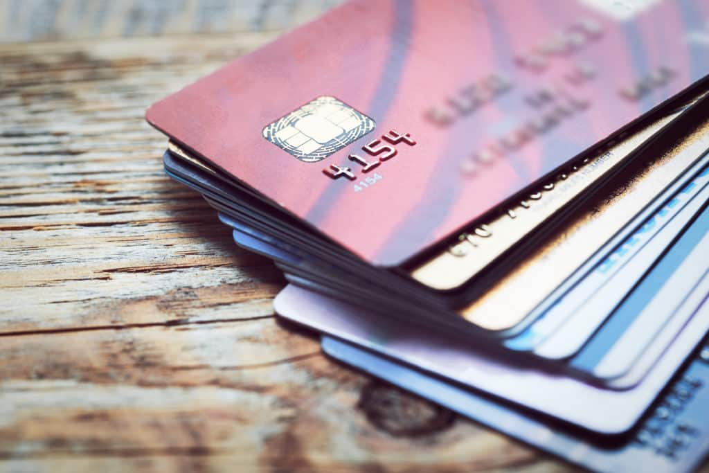 A set of travel hacking credit cards.