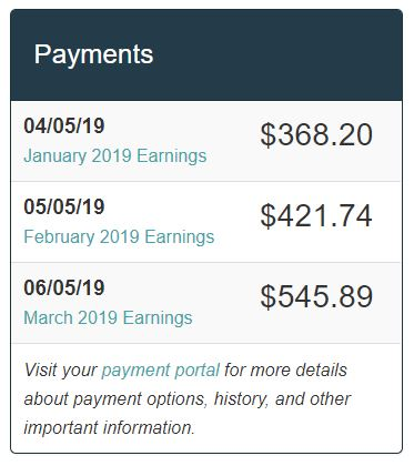 Image showing earnings history from Mediavine ads served on my blog.