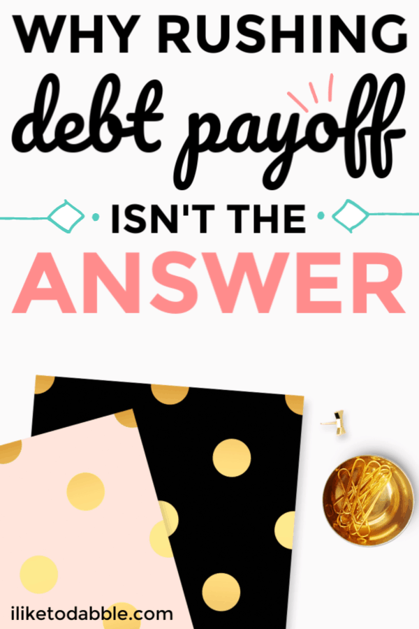 Why rushing debt payoff isn't the answer. Don't take away your quality of life because you think getting out of debt is more important. I tell you in this post how debt can actually help you. #payoffdebt #moneytips