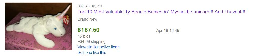 easiest items to flip mystic the unicorn beanie baby