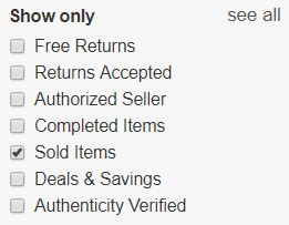 thrift store flipping ebay filter on sold items