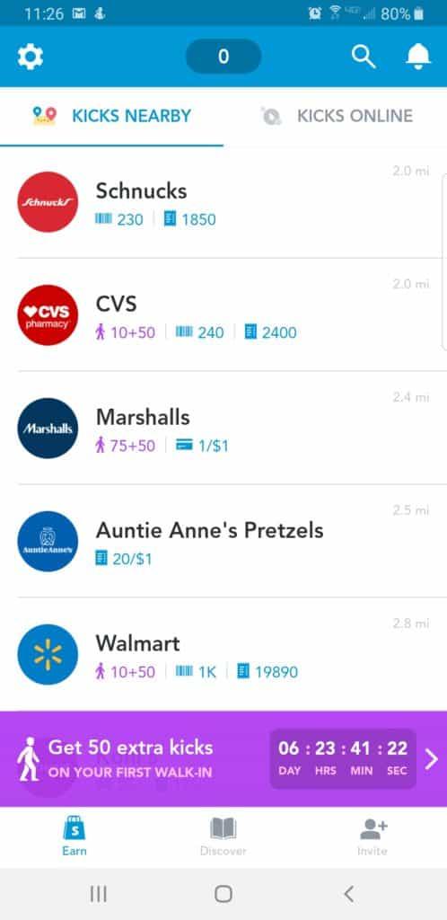 Shopkick mystery shopping app screen shot