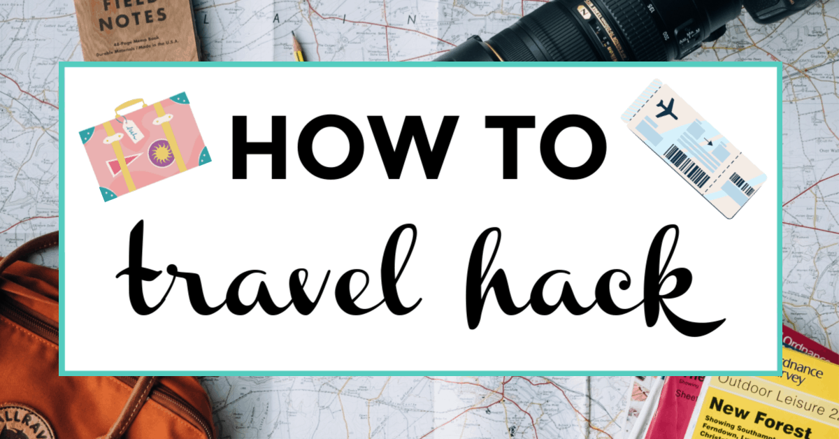 travel hacking. featured image of map and camera.