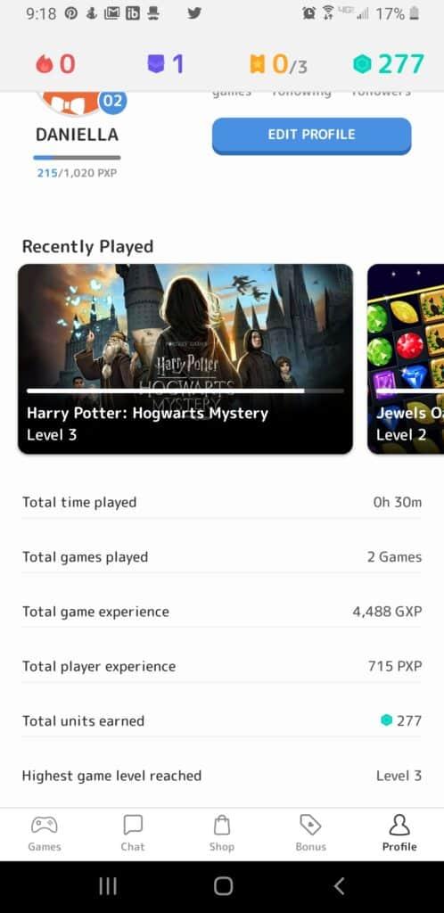 Mistplay examen - capture d'écran de l'histoire du joueur