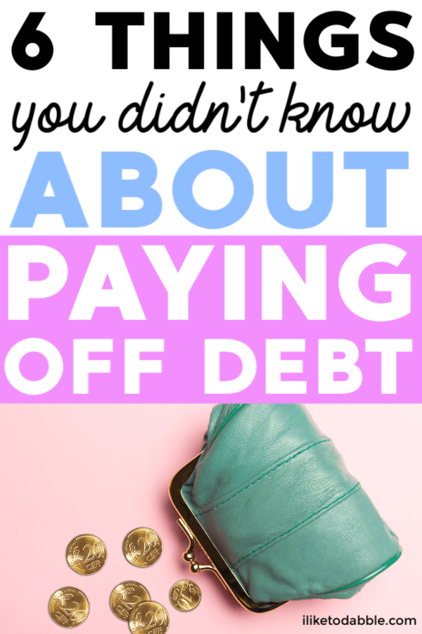 Did you know these 6 things about paying off debt? This is a must read before solidifying your debt payoff strategy. Image of pennies falling out of a purse. #payoffdebt #debtfree #debtfreecommunity #savemoney #debtpayoff #debt #budgetingtips #payoffloans #studentloans #debtavalanche