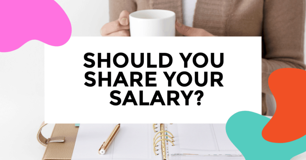should you share your salary. featured image of woman sitting on desk sipping on a cup of coffee.