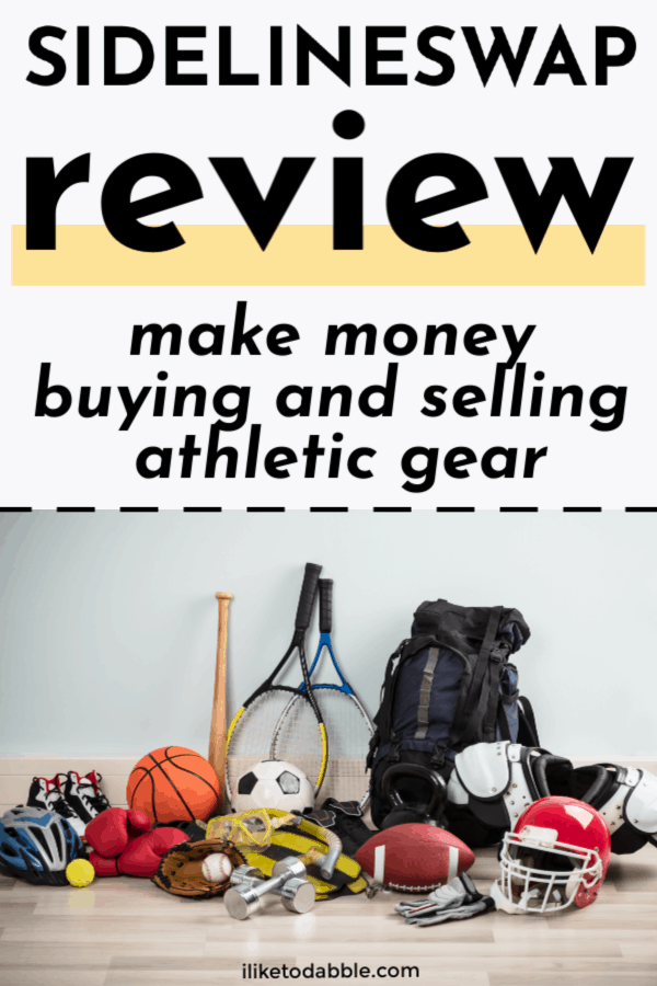 SidelineSwap review of the app and site for buying and selling athletic gear online. Image of sport gear on the floor.  #sellonline #sellyourstuff #reseller #sellgear #athleticgear #sportinggear #reselling #resellonline #makemoney #sidehustleideas #makemoneyideas