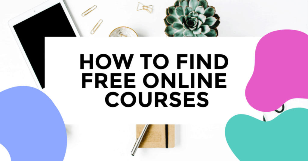free online courses featured image of tablet, plant and pens in background.