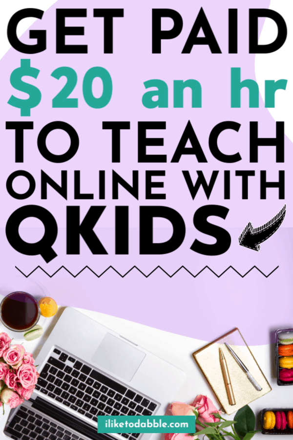 Qkids Review: Get paid to teach english online and make up to $20 an hour Image of keyboard, journal, pens, coffee cup, roses, and macaroons. #qkids #teachonline #makemoney #makemoneyonline #sidehustleideas #onlinejobs