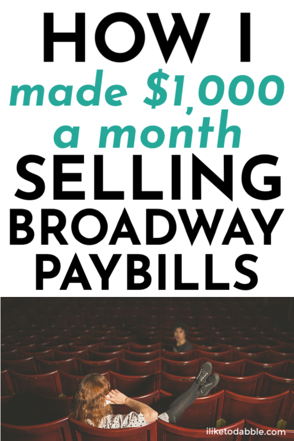 How I make $1,000 a month selling broadway playbills on eBay and Instagram. Image of woman lounging in an auditorium talking on her phone.  #sellonline #broadway #playbills #musicals #sidehustleideas #makemoney #makemoneyonline #onlineseller #reseller #sellyourstuff #onlinesellingtips #selling #ebay #instagram