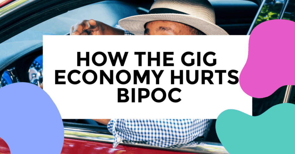 gig economy hurts bipoc featured image of person driving their vechicle with their dog on their lap