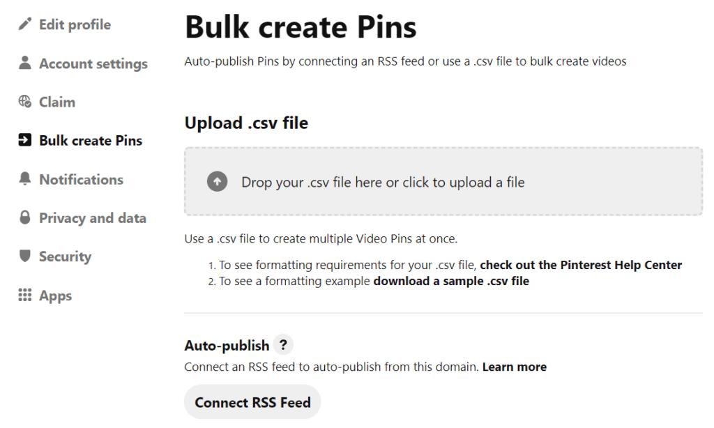 "screenshot of tab ""bulk create pins"" in my profile home page"