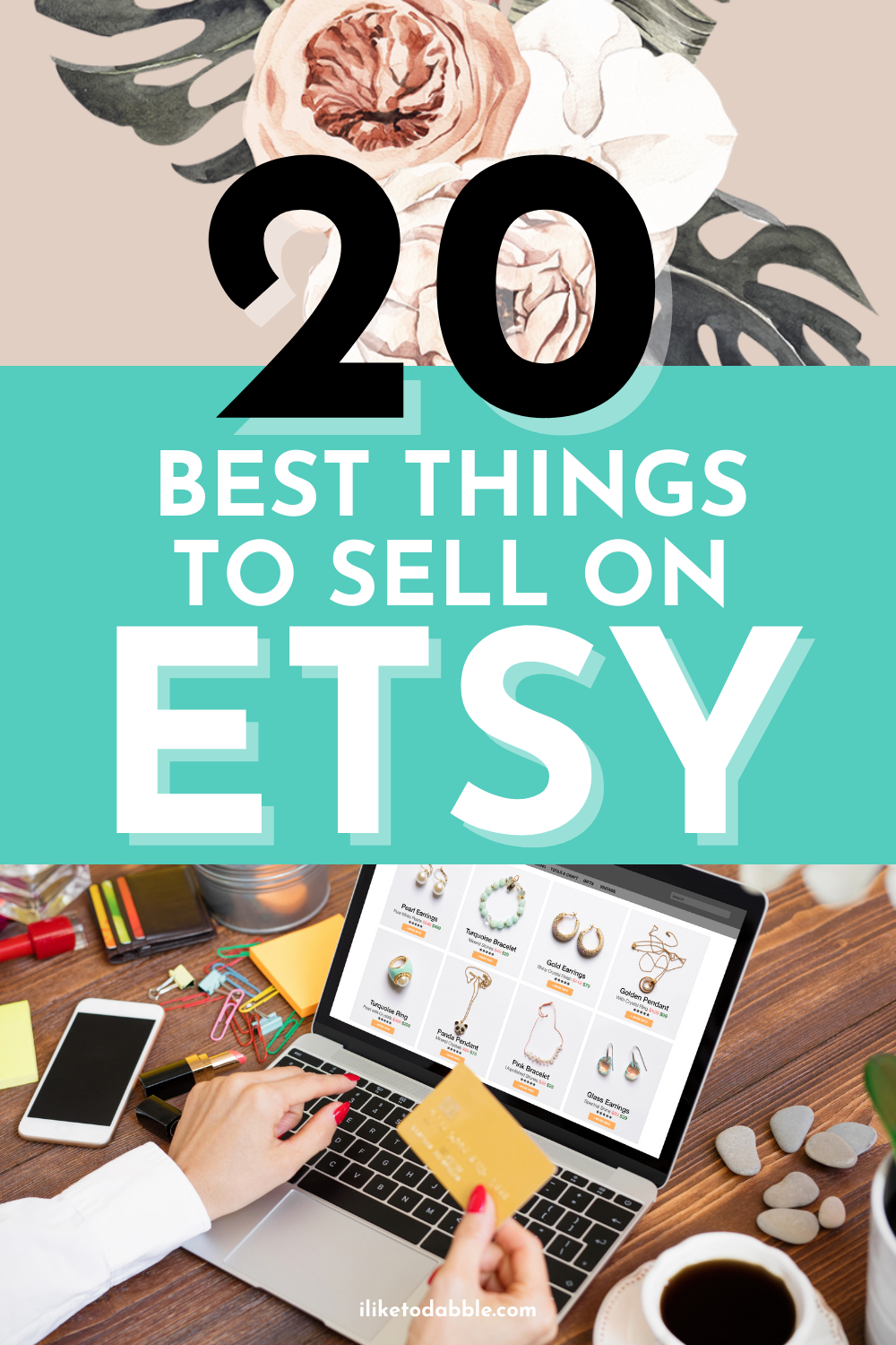 best things to sell on etsy pinnable image with etsy items on a laptop on title text overlay