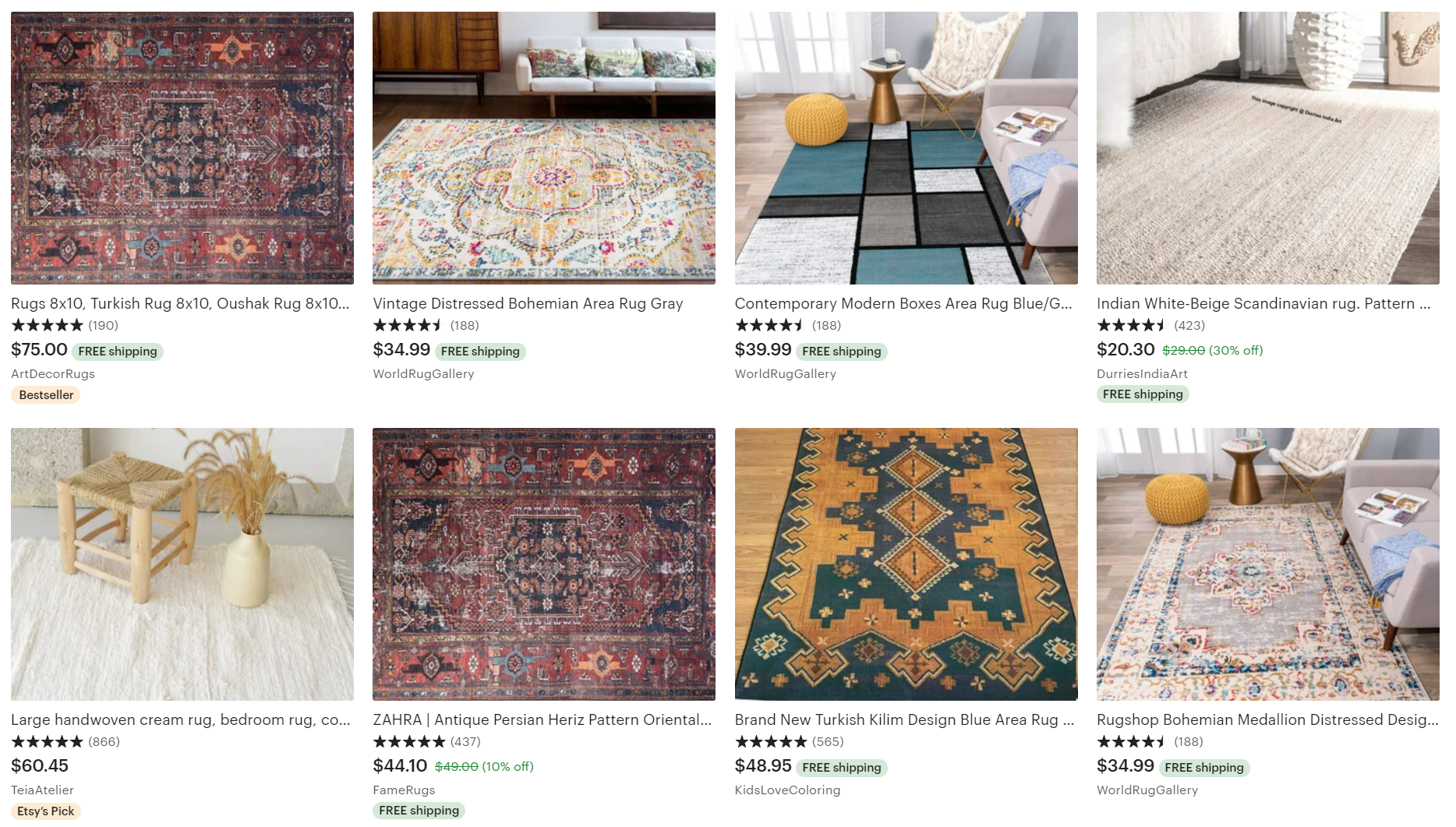 8 by 10 rugs etsy listing